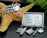 2 vintage teacher brooch pin charms pewter jj jonette math bsd heart thumb155 crop