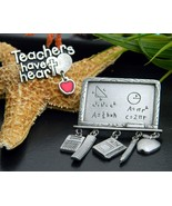 2 Vintage Teacher Brooch Pin Charms Pewter JJ Jonette Math BSD Heart - £13.46 GBP