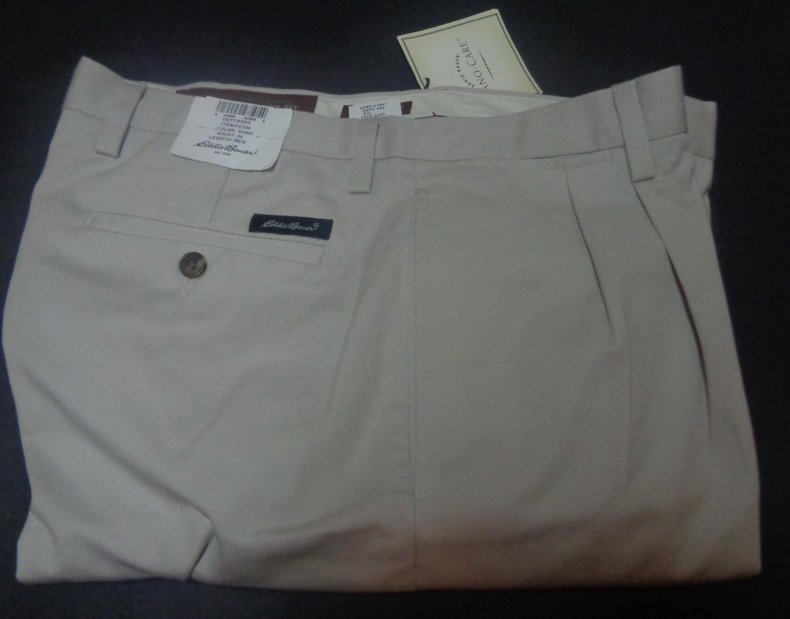 Eddie Bauer Men's Khaki Pants NWT Ruston Fit Nano Care SZ 35