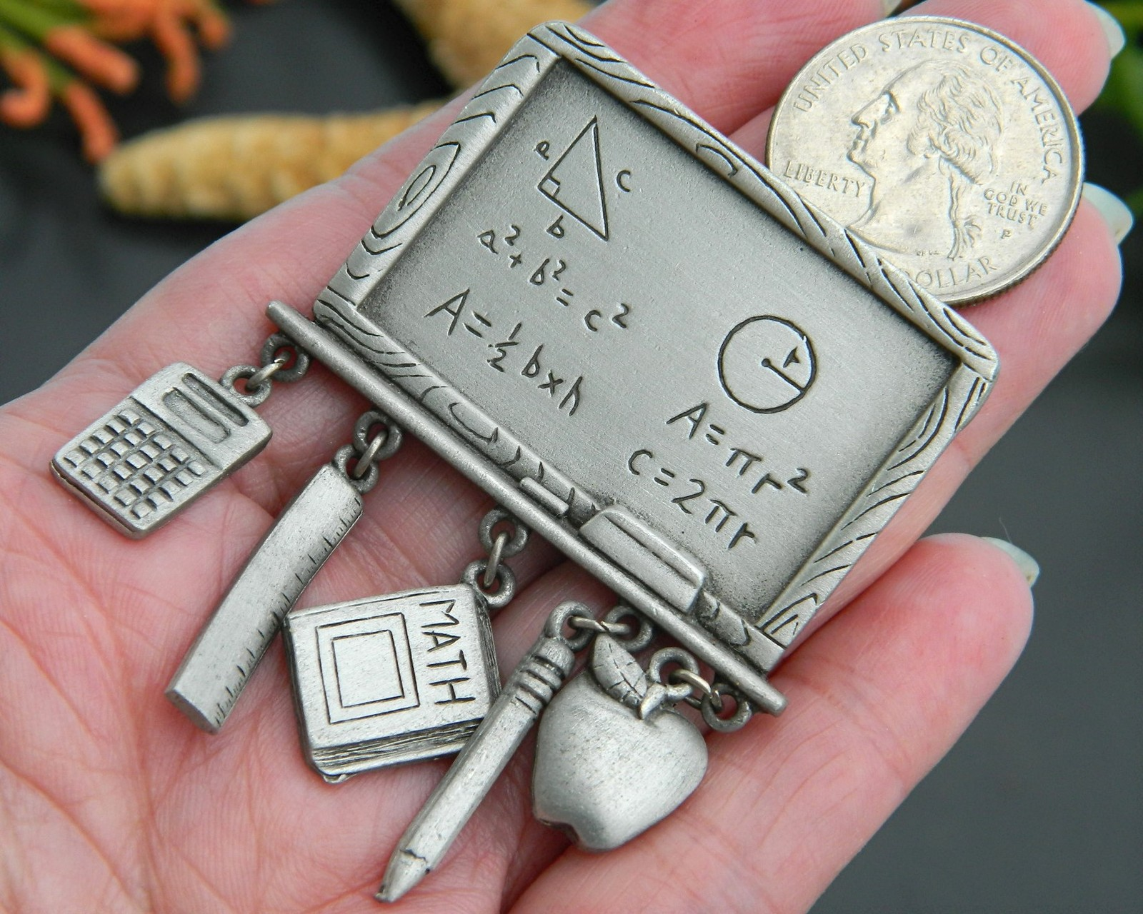 2 Vintage Teacher Brooch Pin Charms Pewter JJ Jonette Math BSD Heart