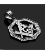 925 Sterling Silver Freemason Octagonal Masonic Pendant (Made in USA) - $19.99