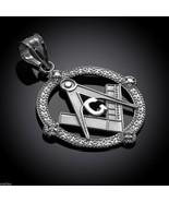 Sterling Silver Freemason Round Masonic CZ Pendant - $21.99