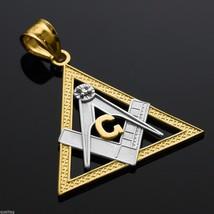 Two-Tone Gold Triangle Freemason Diamond Masonic Pendant - $99.99+