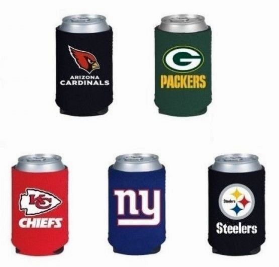 NFL FOOTBALL BEER SODA CAN KADDY or BOTTLE KOOZIE HOLDER ALL TEAMS FOLDS FLAT!