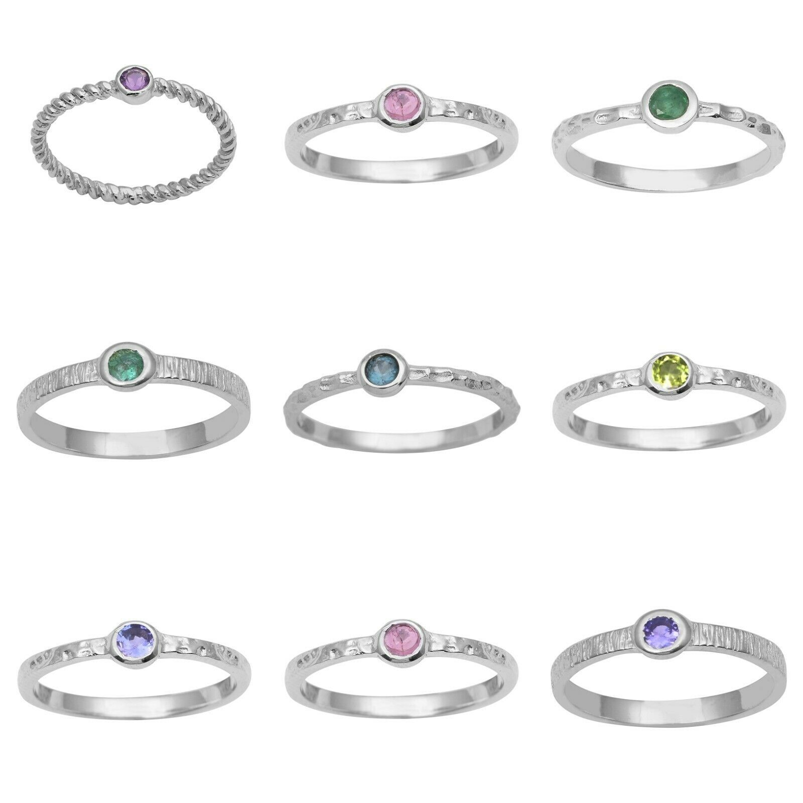 Primary image for Stackable 925 Sterling Silver Multi Gemstone Solitaire Textured Band Women Ring
