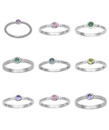 Stackable 925 Sterling Silver Multi Gemstone Solitaire Textured Band Wom... - $14.92+