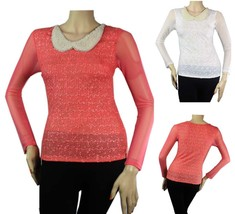 Pearl Collar Special Fabric,Mesh Long Sleeve BLOUSE Slim Dressy Top Junior SML - $23.99