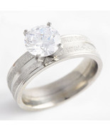 Frosted 1ct White Topaz Stainless Engagement Ring Free Shipping - $25.00