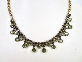 J.Crew Light Green Stone Necklace Antique gold Round Pear Shaped Stones New - $28.50