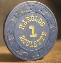 """1970's Roulette Casino Chip From: """"Harolds Club""""- (sku#3066) - $7.99"""
