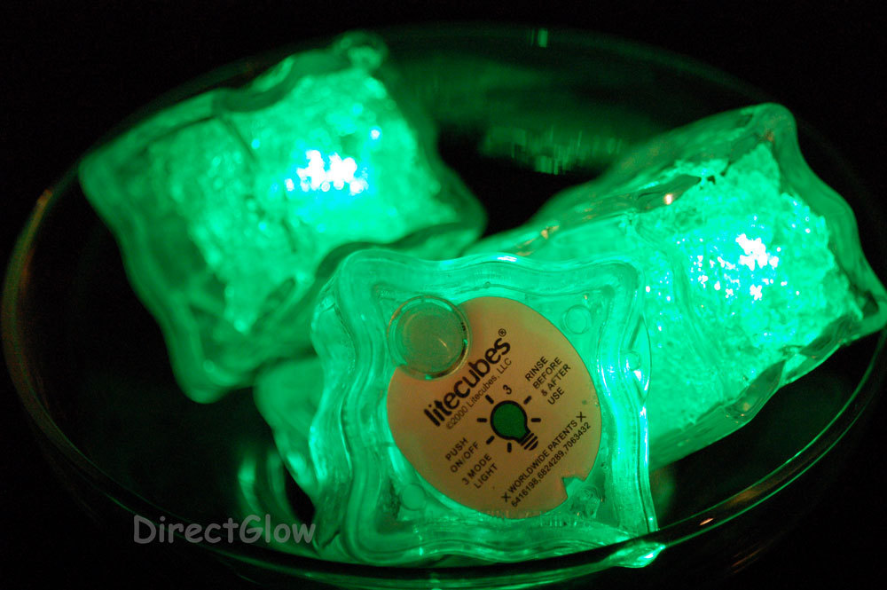 Primary image for Set of 6 Green LiteCubes Brand 3 Mode LED Light up Ice Cubes