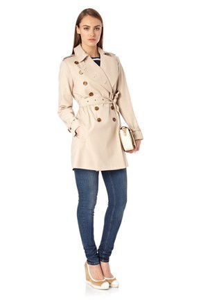 French connection coatsmart catch belted trench coat