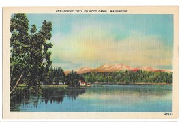 WA Hood Canal Scenic Vista Vtg C P Johnston Linen Postcard Washington - $5.42