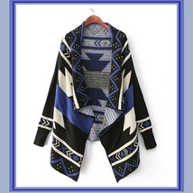 Southwestern Woven Pattern Batwing Sleeve Loose Knitted Wool Cardigan