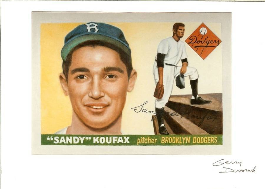 Primary image for 1955 topps sandy koufax reprint photo autograph by artist gerry dvorak signed