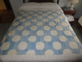 "Vintage Blue & White Octagonal Design Cotton Quilt Top - 58"" X 58"" - $19.95"