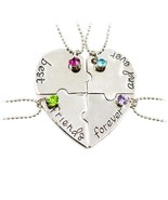4 Pcs/set Best Friends Forever and Ever Necklace Friendship Couple 4 Fri... - $9.74