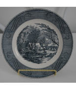 Blue Currier & Ives Style Plate by Royal China  Cavalier Ironstone - $9.95