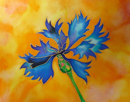 Akimova: CORNFLOWER, silk painting, garden, bouquet, summer, blue, flower - $20.00