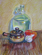 Akimova: STILL LIFE WITH TOMATO AND GARLIC - $14.00