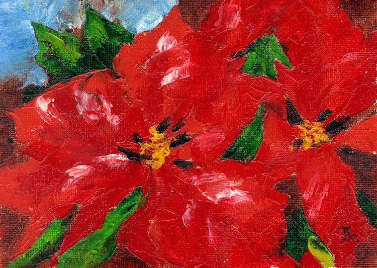 "Akimova: POINSETTIA, flower, red, still life, 7""x5"", oil"