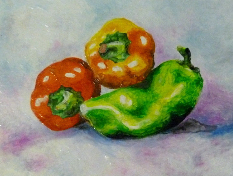"Akimova: BELL PEPPERS, food,red,yellow,green,wax painting,approx.8""x11"""