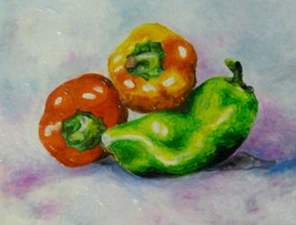 "Akimova: BELL PEPPERS, food,red,yellow,green,wax painting,approx.8""x11"" - $20.50"
