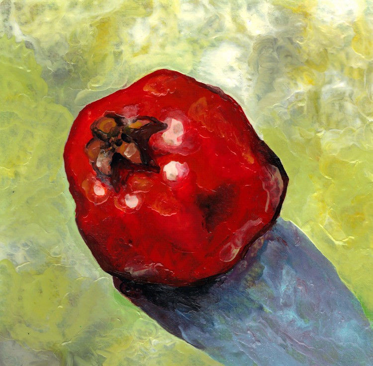 "Akimova: POMEGRANATE, fruit, food, still life, garden,wax painting,approx.8""x11"""