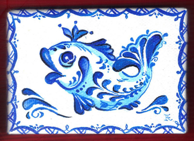 "Akimova: QUEEN FISH  ,ACEO, blue, cartoon, fantasy, 2.5""x3.5"""