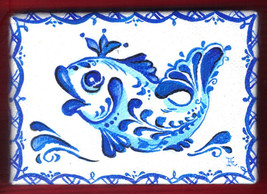 "Akimova: QUEEN FISH  ,ACEO, blue, cartoon, fantasy, 2.5""x3.5"" - $10.00"