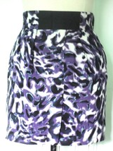 NEW FOREVER 21 RAYON ABSTRACT ANIMAL PRINT PURPLE BLUE WHITE BLACK MINI ... - $17.80