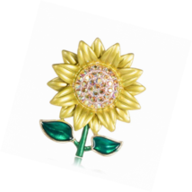SKZKK Enamel Sunflower Brooch Pins,Fashion Rhinestone Painted Dress Pin ... - $16.00