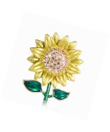 SKZKK Enamel Sunflower Brooch Pins,Fashion Rhinestone Painted Dress Pin ... - $16.00