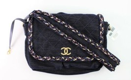 Chanel Velvet Wool Calfskin Leather Parisian Stroll Messenger Bag Blue A... - $1,879.02