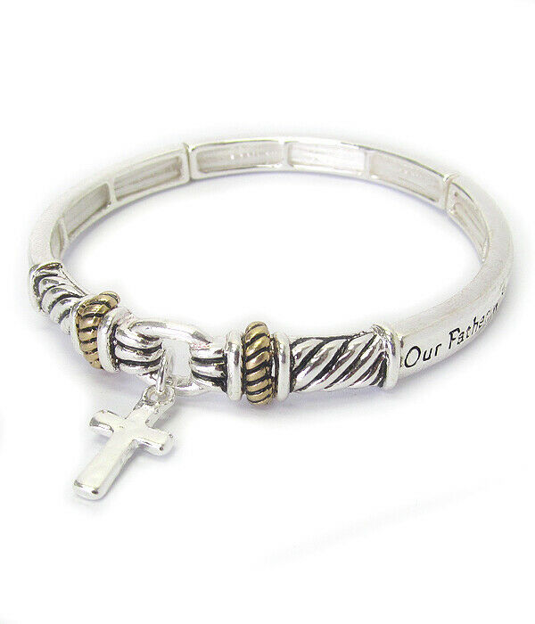 Primary image for LORD'S PRAYER Inspirational Religious Bangle Bracelet Silver NEW