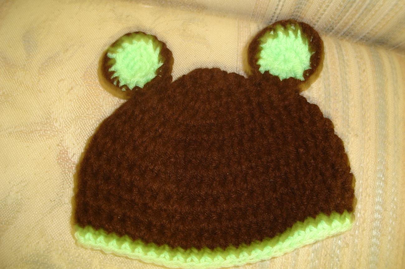 Hand crocheted teddy bear infant/newborn hat/photography prop