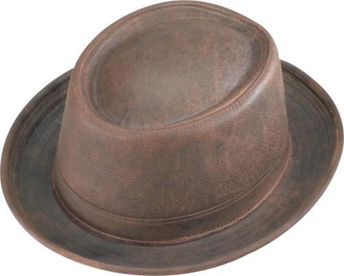 Henschel Smooth Garment Leather Porkpie Satin Lined Made In USA Black Brown