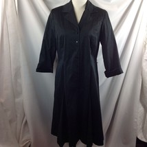Ellen Tracy Black Cotton Trench Dress Collared Button Front 3/4 Sleeve 10 - $34.16