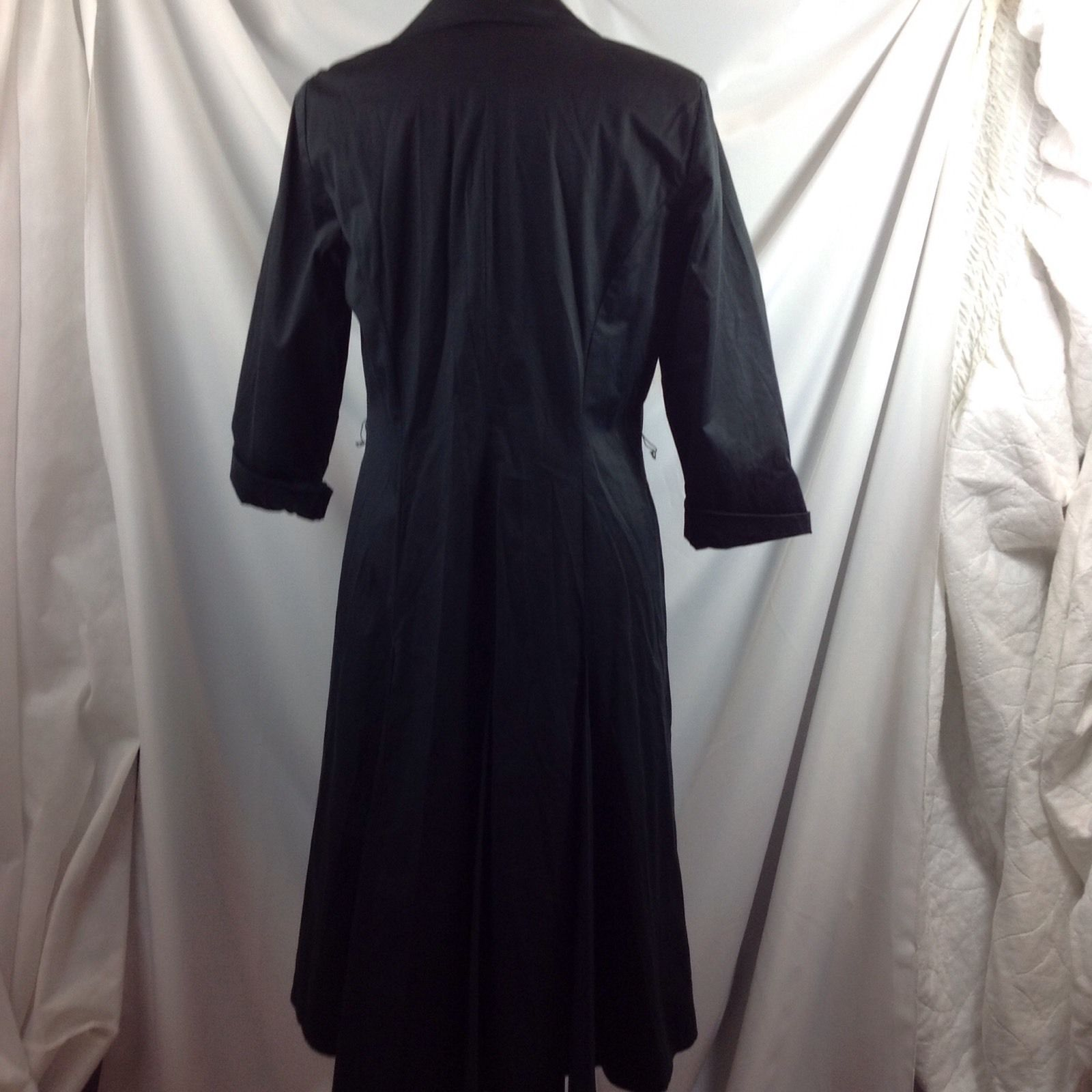 Ellen Tracy Black Cotton Trench Dress Collared Button Front 3/4 Sleeve 10
