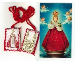 Laminated Prayer Card with Scapular - Santo Nino de Praga - L161.0249