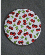 Ditsy Skull Red Cherries White 3 inch diameter Button Mirror Gothic Horr... - $4.99