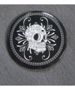 Sugar Skull Black Day of the Dead 3 in diameter Button Mirror Gothic Hor... - $4.99