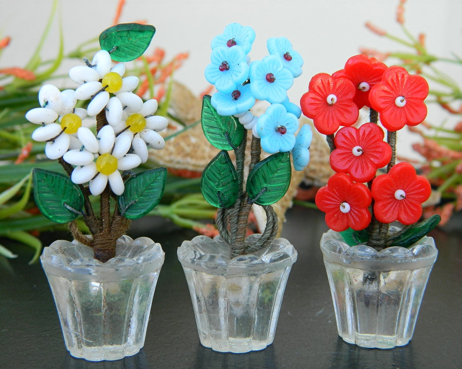 Vintage art glass flower pots place card and 50 similar items reviewsmspy