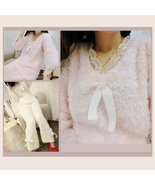 Soft Warm Plush Fleece Lambs Wool Pajama Set Top & Bottoms w/ Bows & Lac... - $38.95