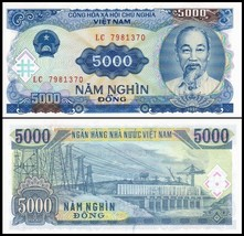 NEW AUTHENTIC PAPER MONEY 5 PSC VIETNAM 5000 DONG BANKNOTES MONEY = 2500... - $14.85