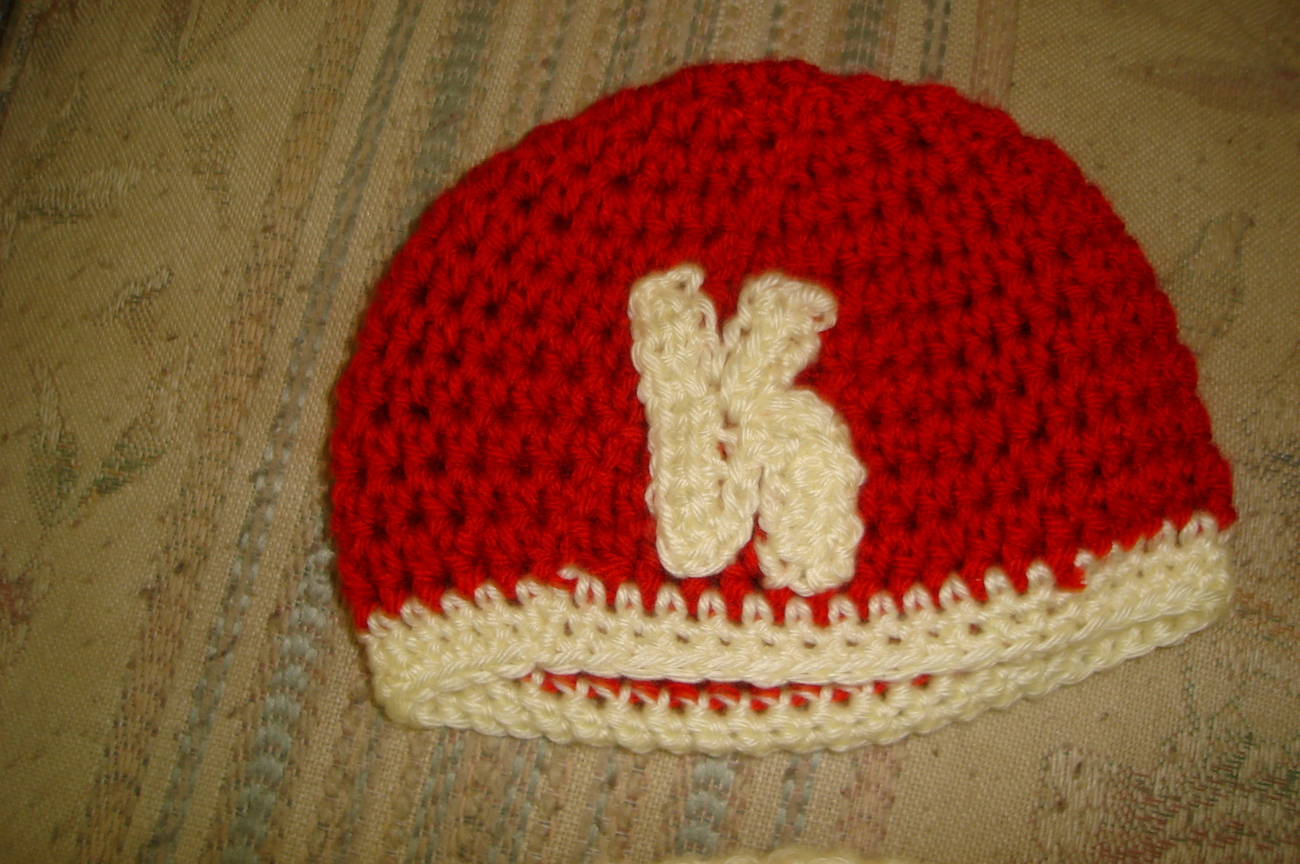 Hand crocheted initial beanie/cap/hat/photography prop for infant/newborn