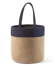"Oversize Tote Bag Superior Eco-friendly Neutral Two-Tone  Navy & Tan  21"" x 14""  image 3"