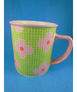Starbucks Barista Coffee  Mug Green with Large Pink Flowers 2004 Large 1... - $9.69