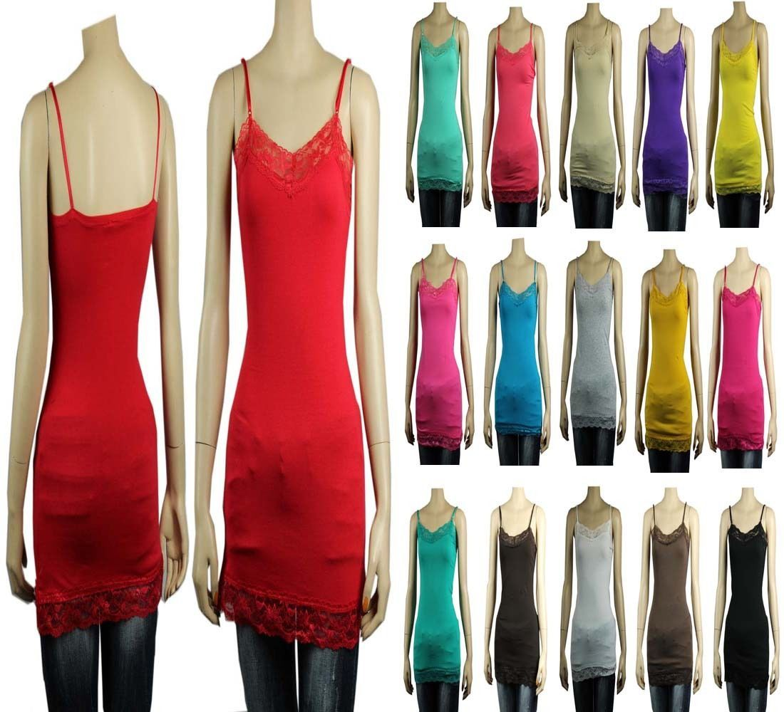 Lace Trim SPAGHETTI TANK TOP Adjustable Strap Long Layering Cami Tunic Top SML