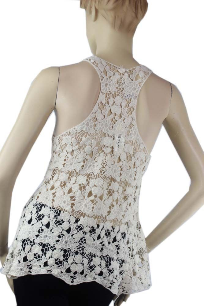 Cute Crochet Tank Top Embroider X-Back Women's  Casual Layering Shirt One Size